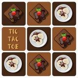 Tic-TAC-dito del piede del gelato e del brownie Fotografia Stock