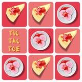 Tic-TAC-dito del piede del gelato e del dolce di crêpe Fotografie Stock Libere da Diritti