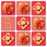 Tic-TAC-dito del piede della cialda e del pancake Immagini Stock