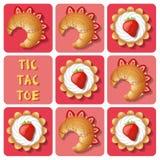 Tic-TAC-dito del piede della crostata e del croissant Fotografie Stock Libere da Diritti