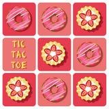 Tic-TAC-dito del piede della crostata e della ciambella della fragola Fotografie Stock