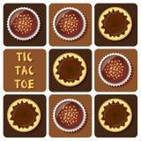 Tic-TAC-dito del piede della palla del cioccolato e del budino Immagini Stock