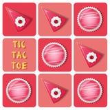 Tic-TAC-dito del piede della palla del dolce della fragola e del dolce Fotografie Stock