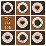 Tic-TAC-dito del piede di cappuccino e di caffè espresso Fotografie Stock Libere da Diritti