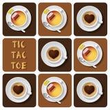 Tic-TAC-dito del piede di cappuccino e di tè Immagini Stock