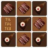 Tic-TAC-dito del piede di cioccolato e del dolce Fotografie Stock