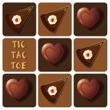 Tic-TAC-dito del piede di cioccolato e del dolce Immagini Stock Libere da Diritti