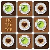 Tic-TAC-dito del piede di tè verde e di cappuccino Fotografie Stock Libere da Diritti