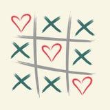 Tic tac palec u nogi gra z criss krzyżem i serce znaka oceną XOXO Ręka rysujący muśnięcie karcianego dzień szczęśliwi valentines  ilustracja wektor
