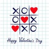 Tic tac palec u nogi gra z criss krzyżem XOXO i trzy czerwieni serca znaka oceną Ręka rysujący błękitny pióra muśnięcie Doodle li ilustracja wektor