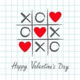Tic tac palec u nogi gra z criss krzyżem XOXO i trzy czerwieni serca znaka oceną Ręka rysujący pióra muśnięcie Doodle linia karci Zdjęcie Royalty Free