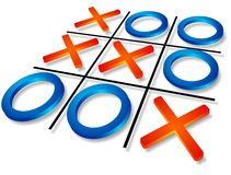 Tic-tac-toe. Successful strategy concept: tic-tac-toe isolated over white background Royalty Free Stock Photos