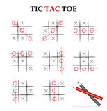 Tic tac toe. Instruction about how to play the famous game Tic Tac Toe Stock Photography