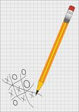 Tic tac toe. Vector illustration of pencil and tic tac toe game Stock Image