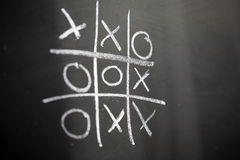 Tic Tac Toe. On a chalkboard Stock Images