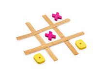 Tic Tac Toe. Wooden tic tac toe game isolated on a white background Stock Photos