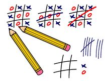 Tic tac toe. Vector illustration of pencils and tic tac toe game Royalty Free Stock Photos