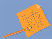 Tic Tac Toe. Game of tic-tac-toe with a paper and a pencil Stock Images