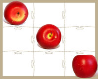 Tic tac toe Apple. Three red apples and tic tac toe game Royalty Free Stock Photo