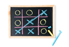 Tic tac toe on a black chalkboard isolated Royalty Free Stock Images