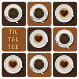 Tic-Tac-Toe of cappuccino and espresso Royalty Free Stock Photos