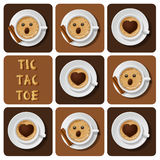 Tic-Tac-Toe of cappuccino Stock Photo
