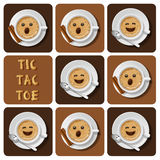 Tic-Tac-Toe of cappuccino. Illustration of cappuccino in tic-tac-toe game Stock Photography