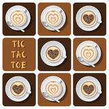 Tic-Tac-Toe of cappuccino and latte Stock Photography