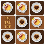 Tic-Tac-Toe of cappuccino and tea Stock Images