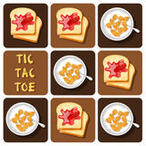 Tic-Tac-Toe of Cereal and Bread Royalty Free Stock Photography