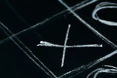 Tic tac toe chalk on a school blackboard dark Stock Images