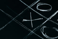 Tic tac toe chalk on a school blackboard dark Stock Photo
