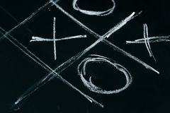 Tic tac toe chalk on a school blackboard dark Royalty Free Stock Images