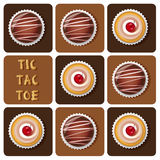 Tic-Tac-Toe of chocolate ball and cup cake. Illustration of chocolate ball and cup cake in tic-tac-toe game Stock Image