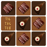 Tic-Tac-Toe of chocolate and cake Stock Photos