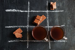TIC TAC toe with coffee and chocolate Stock Images