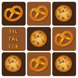 Tic-Tac-Toe of Cookie and Pretzel. Illustration of  of cookie and pretzel in tic-tac-toe game Royalty Free Stock Photos