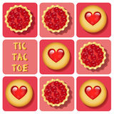 Tic-Tac-Toe of cookie and tart. Illustration of cookie and cherry tart in tic-tac-toe game Royalty Free Stock Photography