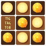 Tic-Tac-Toe of cracker and pancake. Illustration of cracker and pancake in tic-tac-toe game Stock Photos