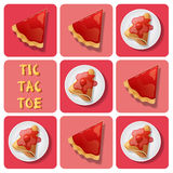 Tic-Tac-Toe of crepe and tart Stock Photo