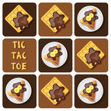 Tic-Tac-Toe of crepe and waffle Royalty Free Stock Photos