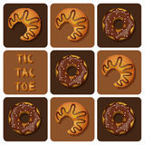 Tic-Tac-Toe of Croissant and Donut Royalty Free Stock Image