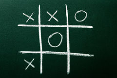 Tic-Tac-Toe game. On green blackboard Stock Photos