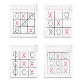 Tic Tac Toe Game. On paper notes Royalty Free Stock Photography