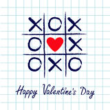 Tic tac toe game with criss cross and red heart sign mark XOXO. Hand drawn blue pen brush. Doodle line. Happy Valentines day card Royalty Free Stock Photography