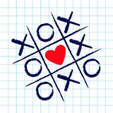 Tic tac toe game with criss cross and red heart sign mark XOXO. Hand drawn blue pen brush. Doodle line. Valentines day Flat design Royalty Free Stock Photography