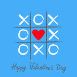 Tic tac toe game with criss cross and red heart sign mark XOXO. Hand drawn brush. Doodle line. Happy Valentines day card Flat desi. Gn . Blue background. Vector Royalty Free Stock Photos