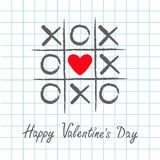 Tic tac toe game with criss cross and red heart sign mark XOXO. Hand drawn pen brush. Doodle line. Happy Valentines day card Flat stock illustration