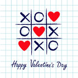 Tic tac toe game with criss cross and three red heart sign mark XOXO. Hand drawn blue pen brush. Doodle line. Happy Valentines day. Card Flat design. Exercise Stock Images