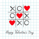Tic tac toe game with criss cross and three red heart sign mark XOXO. Hand drawn pen brush. Doodle line. Happy Valentines day card Royalty Free Stock Photo
